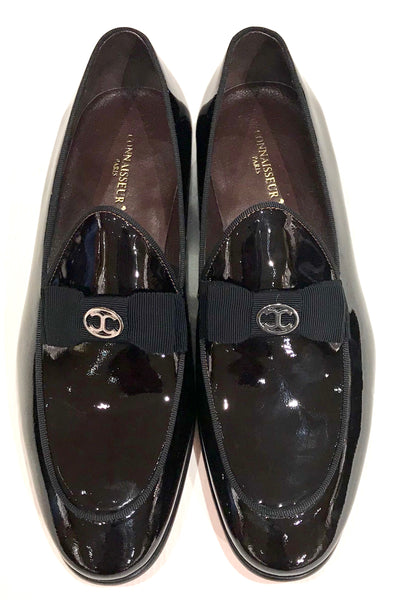 Connaisseur - Coffee Brown patent leather dress loafer with logo