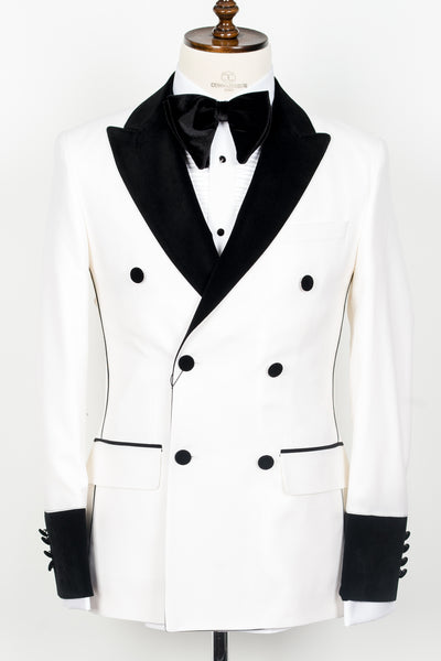 Connaisseur Paris - Off white double breasted tuxedo with velvet lapel and sleeves