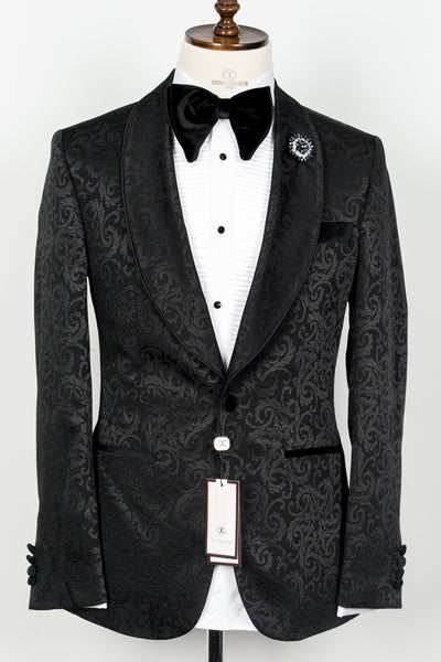 Connaisseur - Black floral pattern shawl lapel slim fit tuxedo with piping