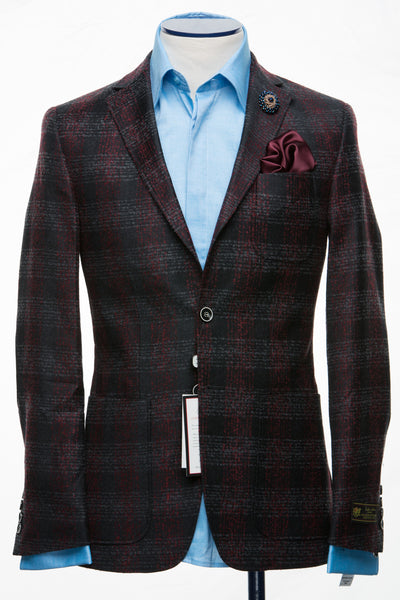 Connaisseur - Dark Grey Plaid Cashmere Slim Fit Jacket