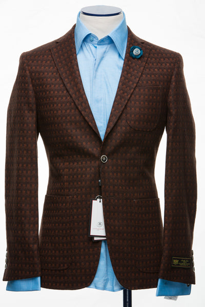 Connaisseur - Brown Cashmere Pattern Slim Fit Jacket
