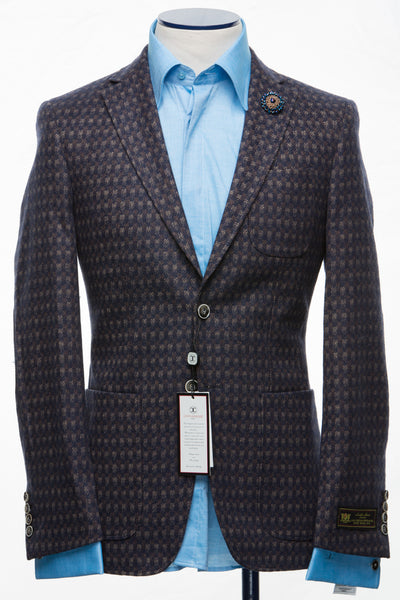 Connaisseur - Dark Blue and Brown  Cashmere Slim Fit Jacket