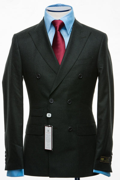 Connaisseur - Forest Green  cashmere Double Breasted slim Fit Suit