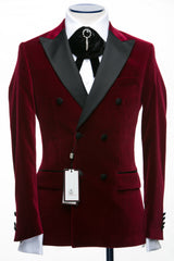 Connaisseur - Luxury Burgundy Velvet Double Breasted Slim Fit Tuxedo