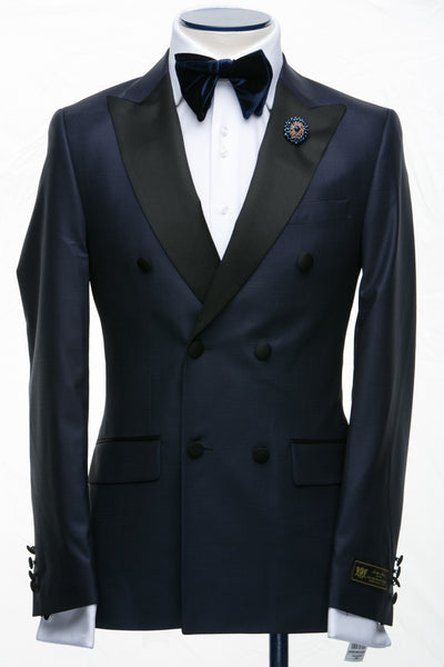 Connaisseur - Navy Blue Breasted Slim Fit Tuxedo