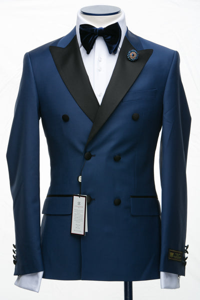 Connaisseur - Royal Blue Double Breasted Slim Fit Tuxedo