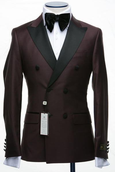 Connaisseur - Burgundy Double Breasted Slim Fit Tuxedo