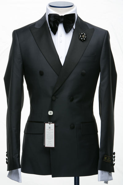 Connaisseur - Steel Grey Double Breasted Slim Fit Tuxedo