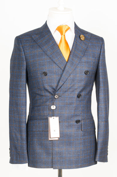 Dormeuil - Navy Blue with blue and brown plaid double breasted slim Fit Suit