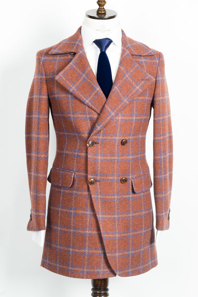 Finitura Felice - Rust Orange wool slim fit double-breasted overcoat with blue plaid