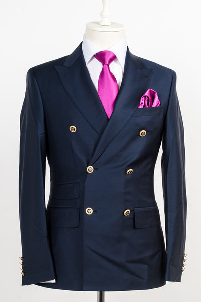 Connaisseur - Navy Blue classic double breasted with gold metal buttons slim Fit Suit