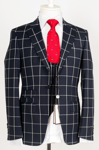 Connaisseur Paris - Navy Blue check pattern 3-piece slim Fit Suit