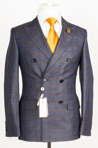 Dormeuil - Grey with blue and brown plaid double breasted slim Fit Suit