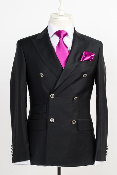 Connaisseur - Black classic double breasted with silver metal buttons slim Fit Suit
