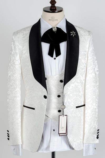 Connaisseur -  Ivory Damask Pattern Tux with Double Breasted Vest