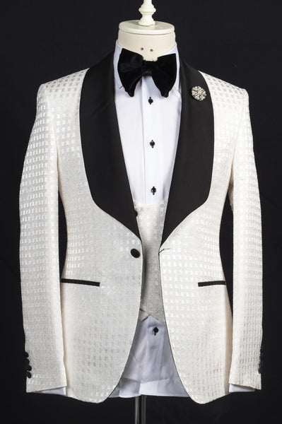 Connaisseur - Ivory plaid pattern shawl lapel slim fit tuxedo with piping