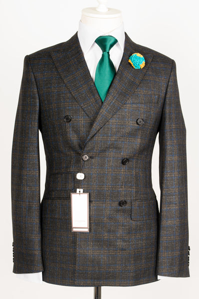 Dormeuil - Dark Grey with aqua and brown plaid double breasted slim Fit Suit