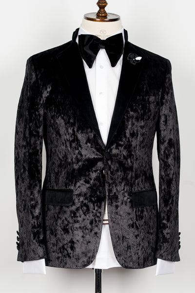 Col Mao - Black velvet pattern half collar 2 button tuxedo