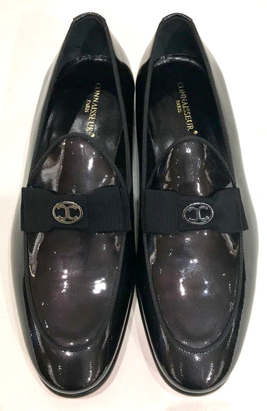 Connaisseur - Steel Grey patent leather dress loafers