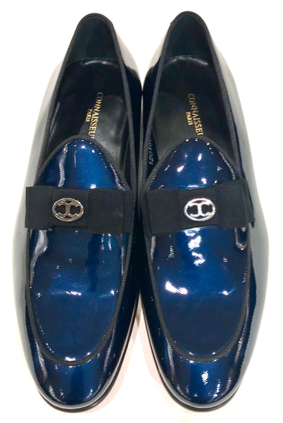 Connaisseur - Blue patent leather dress loafer with logo