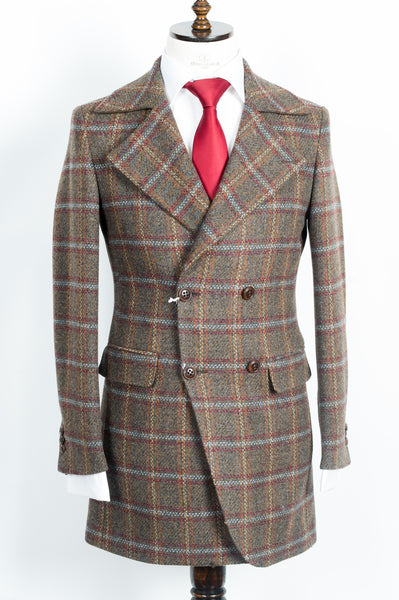 Finitura Felice - Brown wool slim fit double-breasted overcoat with multi color plaid