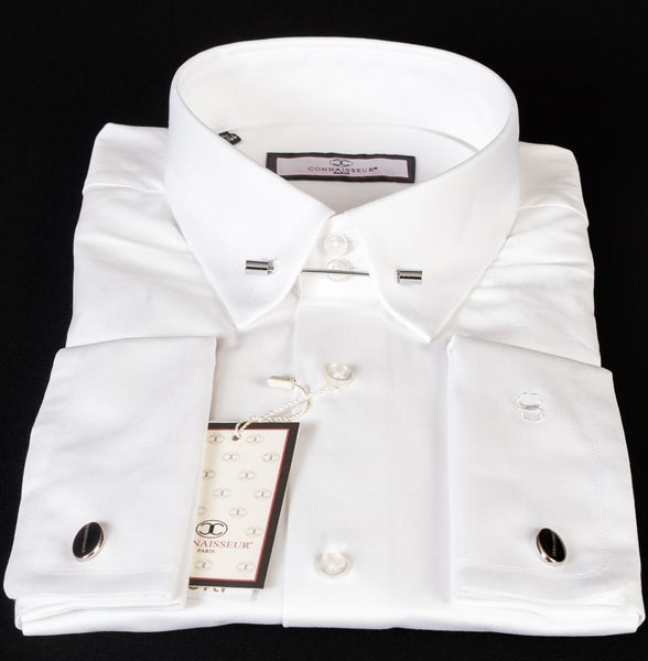 Connaisseur - White Slim Fit dress shirt with collar pin
