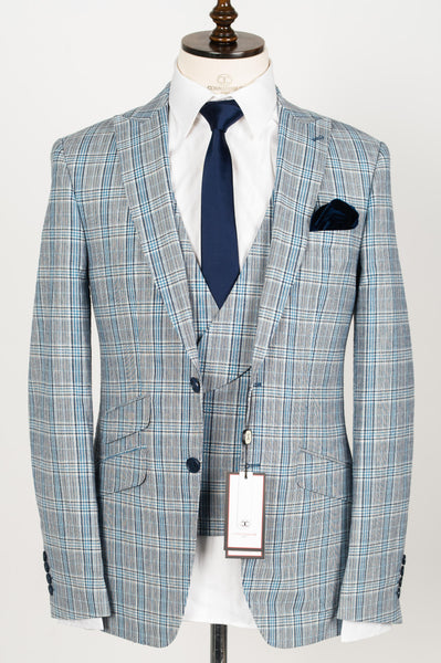 Connaisseur - Light Blue Checkered wool/linen 3-Piece slim Fit Suit