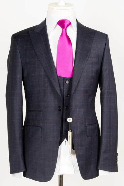 Connaisseur - Navy Blue with fuchsia Plaid 3-piece slim Fit Suit