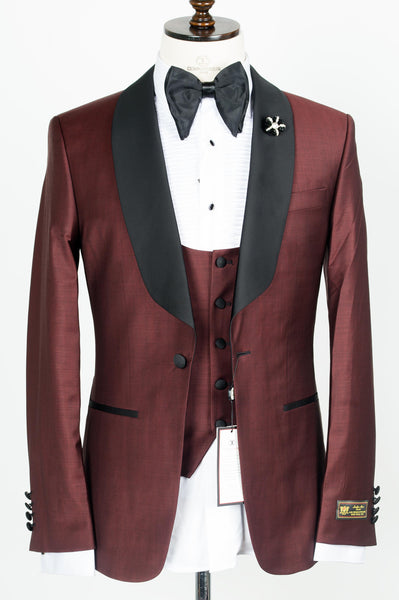 Connaisseur - Burgundy Shawl Lapel Slim Fit Tux with U vest