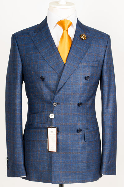 Dormeuil - Blue with brown plaid double breasted slim Fit Suit