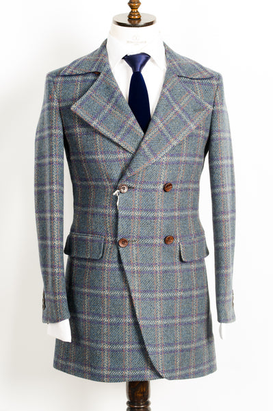 Finitura Felice - Blue with multi color plaid wool Double-Breasted slim fit overcoat