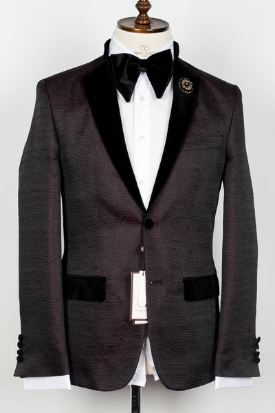 Col Mao - Burgundy with black velvet pattern half collar 2 button tuxedo