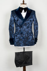 Connaisseur Paris - Blue floral pattern double breasted tuxedo with velvet lapel and sleeves