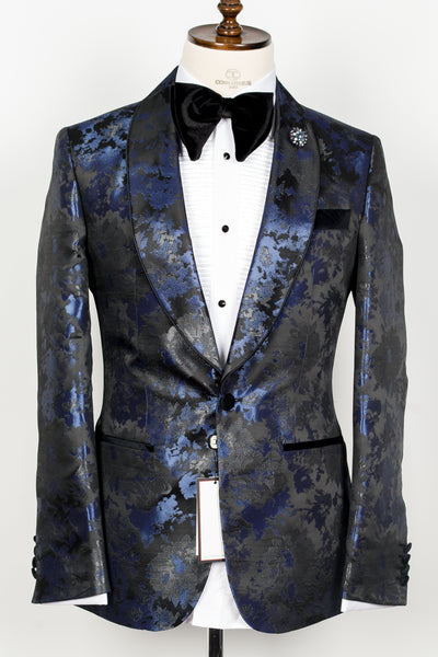 Connaisseur - Blue and Black silk floral pattern shawl lapel slim fit tuxedo with piping