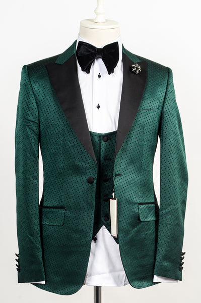 Connaisseur - Green with Black Polka dot pattern 3-piece slim fit tuxedo