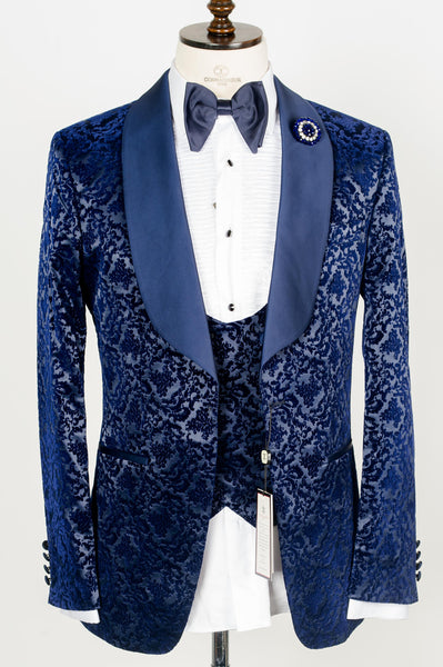 Connaisseur -  Blue Damask Pattern Tux with Double Breasted Vest