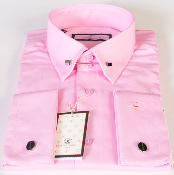 Connaisseur - Pink Slim Fit dress shirt with collar pin