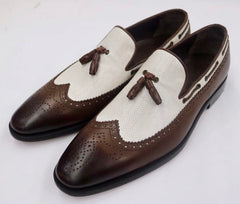 Connaisseur - Dark brown and offwhite wingtip dress loafer with tassel