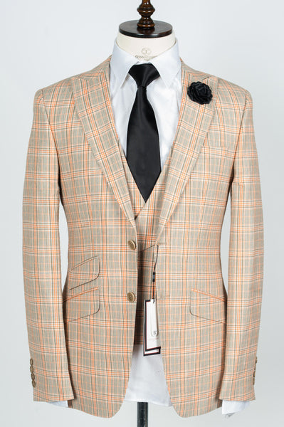 Finitura Felice - Grey with orange plaid wool/linen 3-Piece slim Fit Suit
