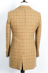 Finitura Felice - Tan wool slim fit overcoat with dark brown and green plaid