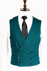 Connaisseur - Green Prince-de-Galles check pattern 3-Piece slim Fit Suit