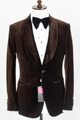 Connaisseur - Coffee Brown Luxury Niedieck Velvet Blazer with Black Satin Pants