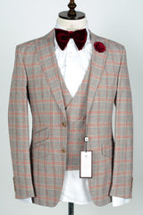 Connaisseur - Grey with burgundy plaid Checkered wool/linen 3-Piece slim Fit Suit