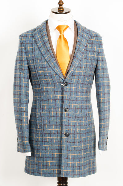Finitura Felice - Blue wool slim fit overcoat with coffee brown and tan plaid