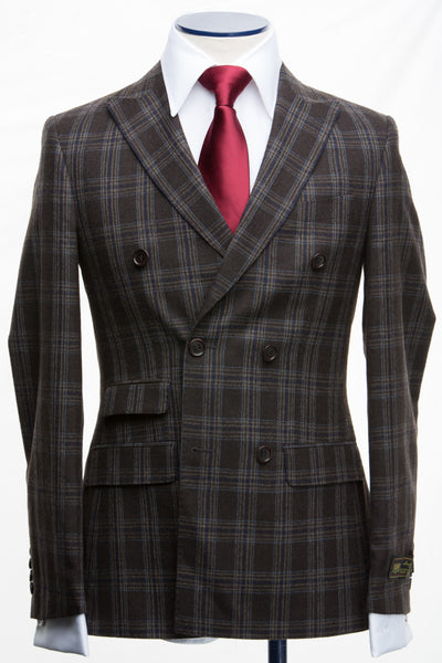 Connaisseur - Dark Brown Plaid Double Breasted Slim fit suit