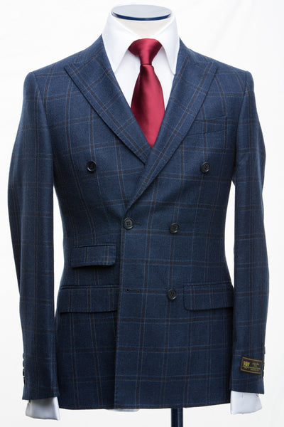 Connaisseur - Blue Plaid wool/cashmere Double Breasted Slim fit suit
