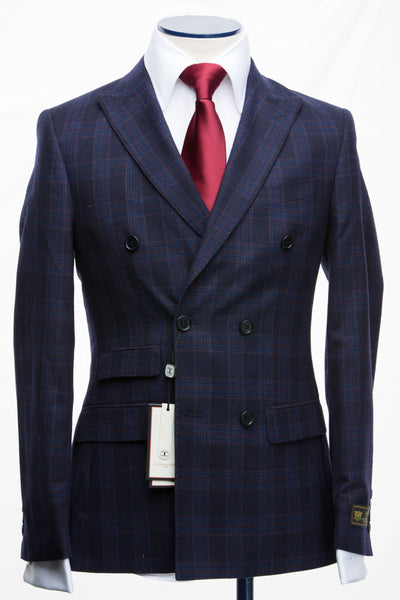 Connaisseur - Navy Blue Plaid wool/cashmere Double Breasted Slim fit suit