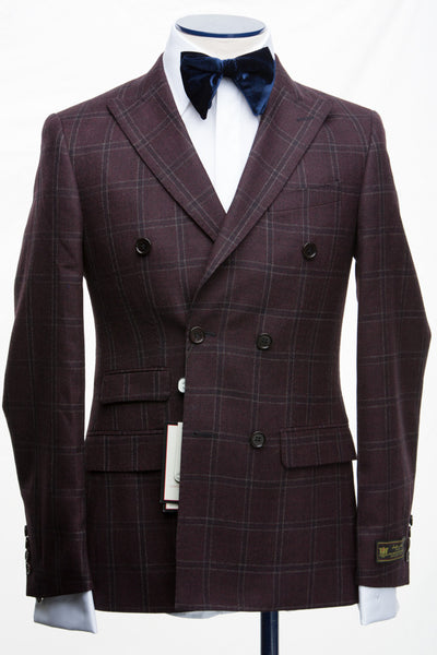 Connaisseur - Burgundy Plaid wool/cashmere Double Breasted Slim fit suit
