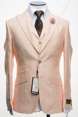 Connaisseur - Peach wool/silk/linen 3-Piece Slim Fit Suit