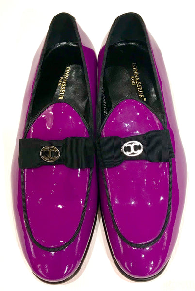 Connaisseur - Purple patent leather dress loafer with logo